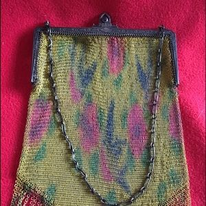 Floral Metal Mesh Bag with chain